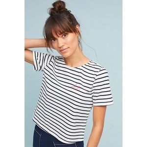 [Anthropologie] Quayside Striped Top Navy